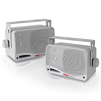 Outdoor Waterproof Wireless Bluetooth Speaker - 3.5 Inch Pair 3-way Active Passive Weatherproof Wall Ceiling Mount Dual Speakers System w/ Heavy Duty Grill Patio Indoor Use - Pyle PDWR42WBT  White