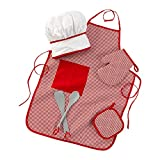 KidKraft Tasty Treats Chef Apron, Hat and Accessory Set for Kids - Red, Gift for Ages 3+