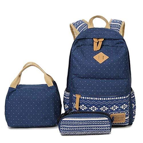 Mochilas Escolares Juveniles Mochila Escolar Juveni Conjunto de 3 para Universitarias Colegio Mochila Bolso Chicas Chico Niña Backpack Bolsa de Hombro Bolsos Estuche Billetera Impresión Azul