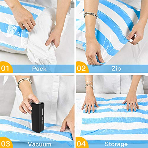 51kGqMzi3UL - VMSTR Vacuum Storage Bags with Wireless Electric Pump Space Saver Bags 8PCS(1XLarge,2XMiddle,2XSmall,3Xfood Bags) Compression Bags for Travel and Home Use Clothes Blankets Pillows Comforters