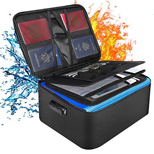 Bolsa para documentos ignífuga de 4 capas, organizador inteligente con gran capacidad para guardar documentos, archivos, facturas, joyas, tarjetas, pasaporte, certificados, tablet