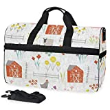 Wildflower - Bolsa de viaje grande para el fin de semana para la noche, bolsa de gimnasio, bolsa de deporte, con compartimento para zapatos