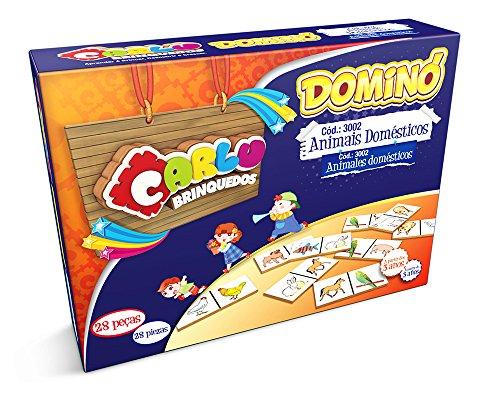 Carlu Brinquedos - Animais Domésticos Jogo Dominó, 3+ Anos, 28 Peças, Multicolorido, 3002