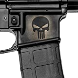 GunSkins Magwell Skin - Premium Vinyl Decal - Easy to Install and Fits AR-15 Lower Receivers - 100% Waterproof Non-Reflective Matte Finish - Made in USA - GS Skull Black