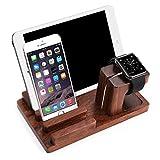 Feitenn iPad iPhone Wooden Stand, Apple Watch Bamboo Wood Charging Stand Desktop Station USB 2.0 Hub Bracket for iPhone 7 Samsung S8 LG G6 iWatch iPad Kindle (Dark Brown)