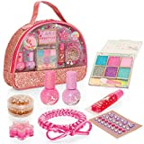 Style Girlz Unicorn Carry Bag Cosmetic Set - Girls Make-up Kit - 100% Child Safe & Peelable Nail Polish - Eye Shadow - Lip Balm - Body Gem Stickers