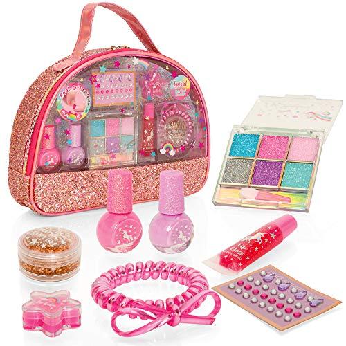 Style Girlz - Einhorn-Schminkset - Schminkset für Mädchen - 100% sicherer und abziehbarer Nagellack - Lidschatten - Lippenbalsam - Körpersticker.