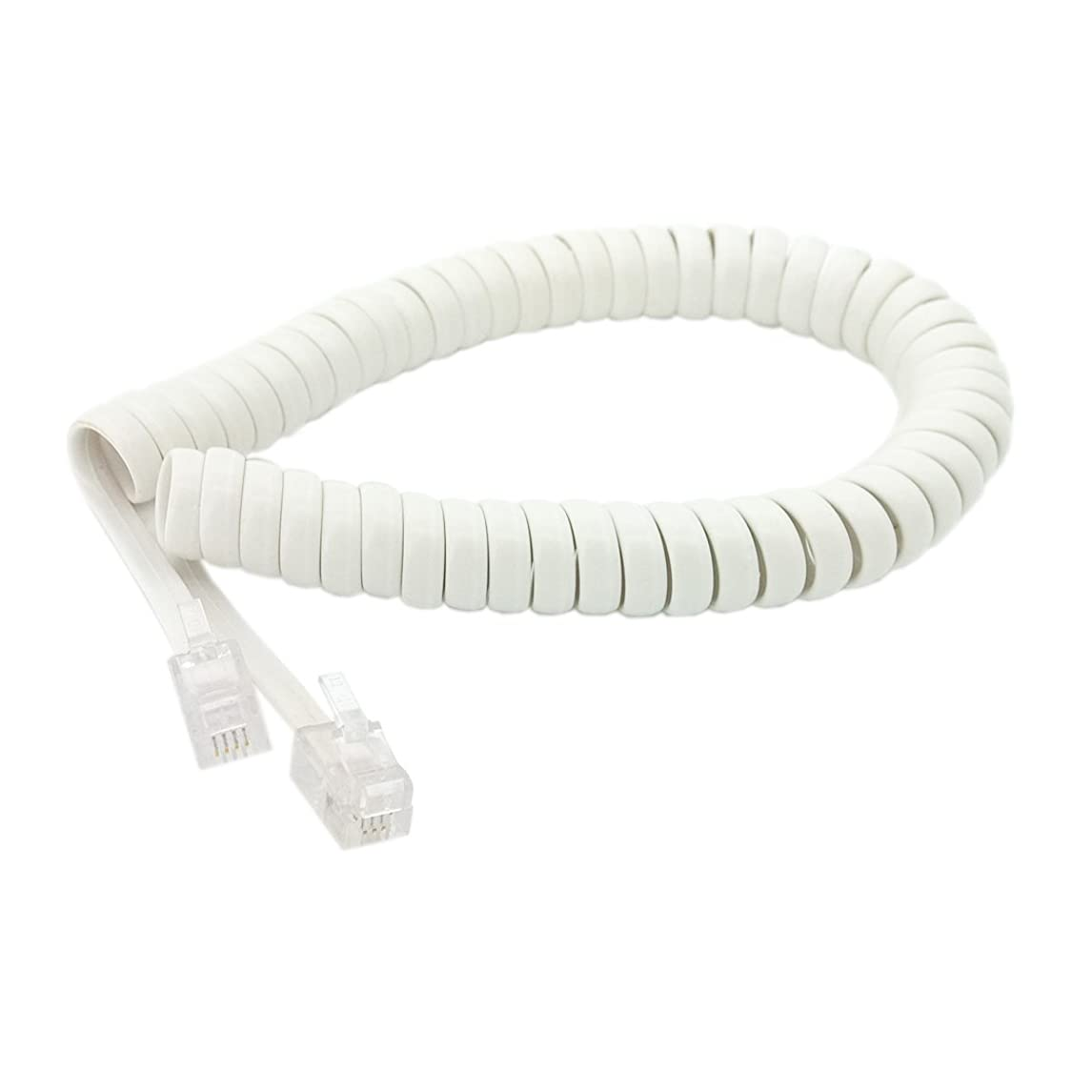 Handset Cord, Telephone Handset Coiled Cable Telephone Spiral Cable 6ft White jedow09295475381