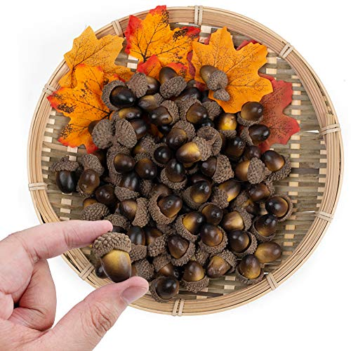 BigOtters 100 PCS Fake Nutty Artificial Acorn Model Craft Material for Autumn Deco,Home House Decoration,Christmas