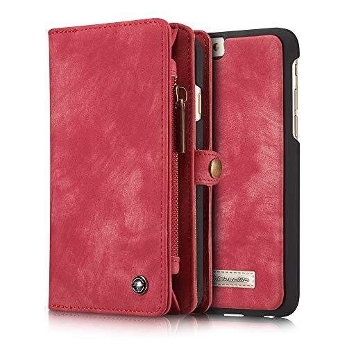 Wangqianli for iPhone 6 / iPhone 6S (4,7 Zoll) Multifunktions-Reißverschluss Geldbörse Split Typ Abnehmbare Design Flip PU Lederbezug (Farbe : Rot)