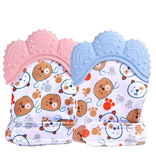 BESLIME Gant de Dentition pour Bébé, Moufle Jouet de Dentition en Silicone pour Garçon, Soulage et Calme les Nourrissons (Paquet de 2)