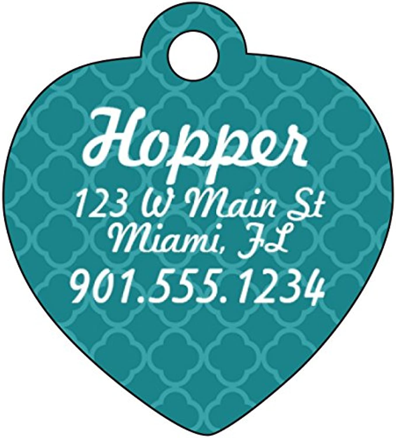 Dog Tag Cat Tag Pet ID Tag Personalized w  Name & Number & Address Heart Shaped (bluee)