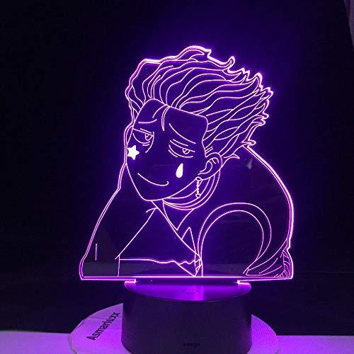 3D Night Light LED Kawaii Hisoka LED Anime LAMP 3D Led Night Light Remote 7 Colors Remote Control Changing Table Lamp Best Gift SGFG