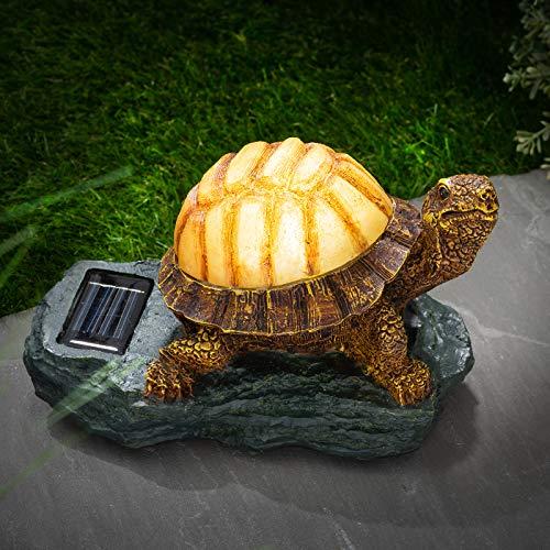 Novelty Light Up Solar Power Red Solar Light Garden Ornament Lawn Statue Figurine Patio Pond Light Decking Outdoor (Turtle)