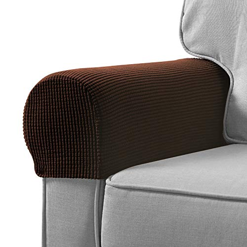 Sofa Armrest Cover Stretch Armchair Slipcover Furniture Armrest Protector for Sofa Chair Recliner Couch Loveseat Set of 2 (Brown)