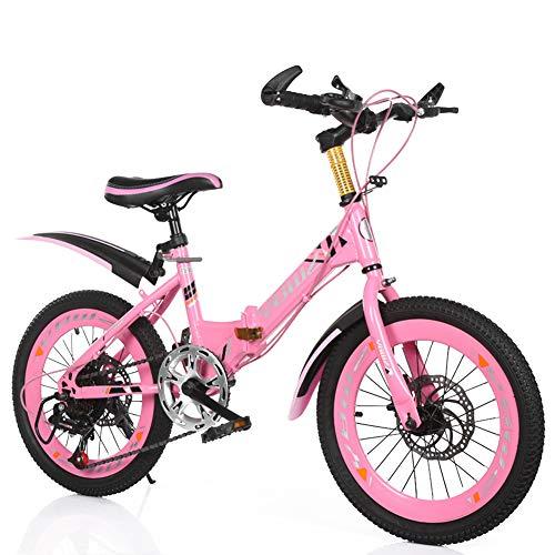 MYRCLMY Variable Speed Folding Fahrrad BMX Fahrrad-for-Kids, Kinder Und Anfänger-Ebene Bis Hin Zu Fortgeschrittenen 16-20-Zoll-Rädern, Kinder Single Speed Folding Fahrrad Mountainbike,Rosa,18inch