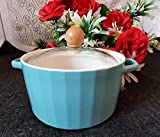 ISP Porcelain Serving Bowl/Casserole/Tureen with Glass Lid and Wooden knob in Glass (Microwave Safe) (750 ml) Serving Capacity 02 Persons.