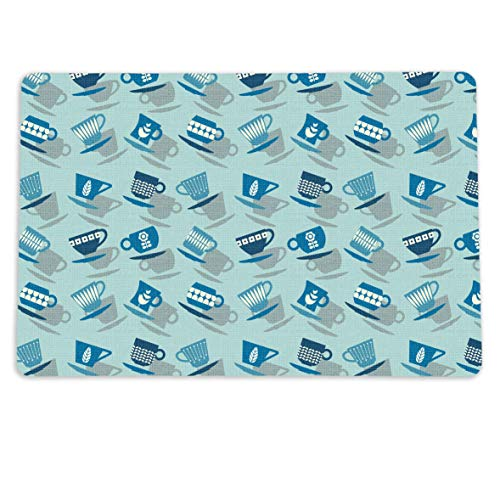 """Coffee Cup Toss Spill Mat for your Coffee or Tea Station. 12"""" x 18"""" Washable Coffee Decor Placemat for your Coffee Maker - Made in the USA"""
