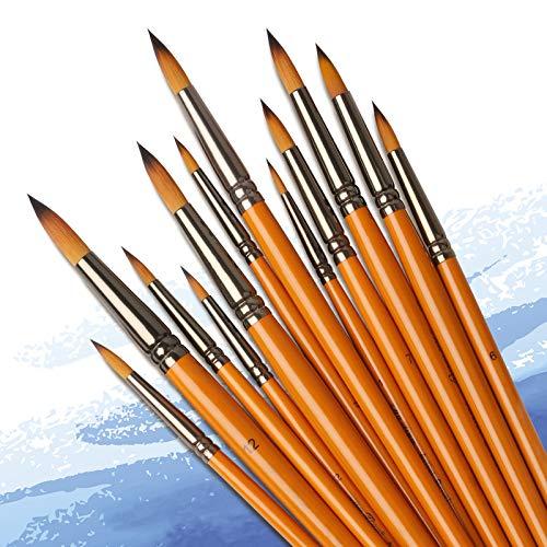 12 Pezzi Pennelli per Artisti, Set di Pennelli per Pittura a Punta Tonda per Acquerello, Acrilici, Inchiostro, Guazzo, Olio, Tempera (Brown)