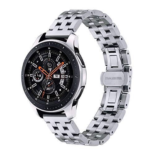 Pulseira Metal 5 Elos para Samsung Galaxy Watch 46mm - Gear S3 Frontier - Gear S3 Classic - Amazfit GTR 47mm - Amazfit Stratos 2 2S 3 - Marca Ltimports (Prata)