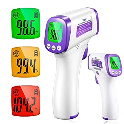 XDX Digital Infrared Thermometer for Adults, Non Contact Touch with LCD Display Color Screen, Temperature Reading for Forehead and Surfaces for Baby Adult School Office