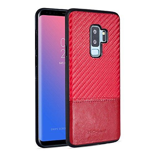 TECHGEAR LS02 Schutzhülle für Samsung Galaxy S9 Plus, aus PU-Leder, mit Kohlefaser-Design, schlankes Design, Schwarz