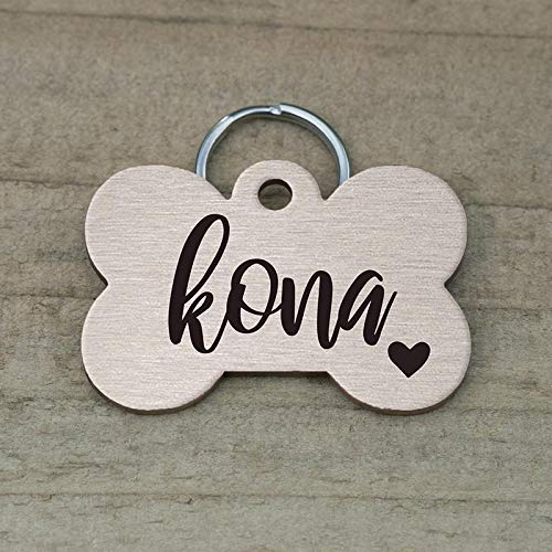 Mini Wim Stainless Steel Pet ID Tags, Personalized Dog Tag and Cat Tag, Rose Gold, and Silver, 5 Lines of Custom Text, Engraved on Both Sides, in Round, Bone, Diamond, and More (Bone)