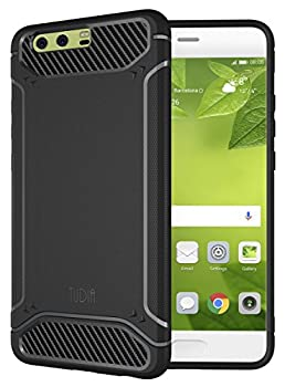 TUDIA Huawei P10 Plus Case Carbon Fiber Design Lightweight [TAMM] TPU Bumper Shock Absorption Cover for Huawei P10 Plus  Black