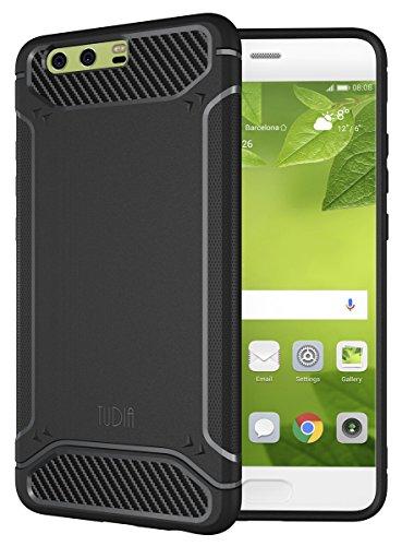 TUDIA Huawei P10 Plus Funda, Ultra Delgado Fibra de Carbon TAMM TPU Caso de Parachoques de protección Funda Carcasas para Huawei P10 Plus (Negro)