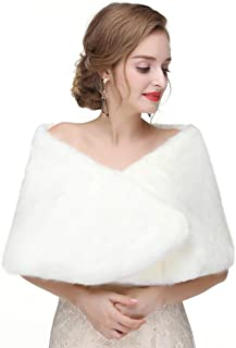 CanB Women's 1920s Faux Fur Shawl Bridal Wedding Fur Wraps and Bolero Shrug Faux Mink Stole for Women and Girls