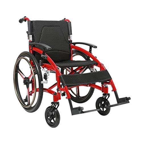 LYRWISHMJ Alles Gelände Rollstuhl Mit 44 cm Sitz Und 60CM Offroad-Reifen (Red Border)