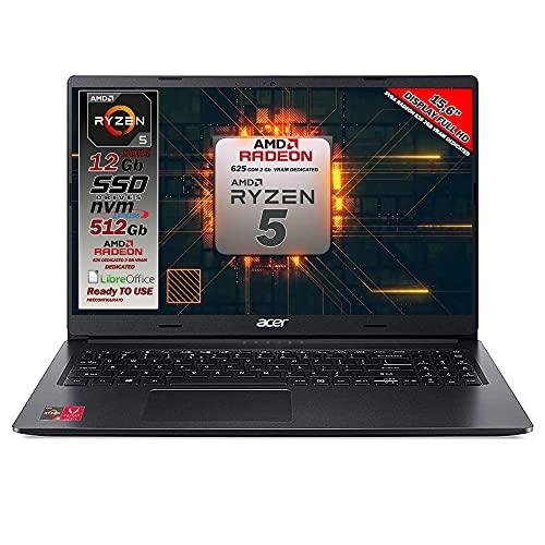Notebook Acer portatile, Cpu Ryzen 5 3500U, 4 core fino a 3,7 GHz in B. mode, RAM 12Gb, SSD Pci Nvme da 512GB, 15,6' Full HD, wi-fi, Hdmi, lan, webcam, Win 10 Pro, Preconfigurato, Garanzia Italia