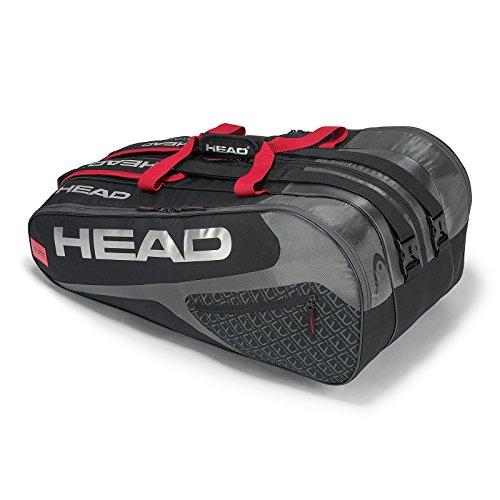 Headgear Elite 12R Monstercombi, Borsa per Racchette da Tennis Unisex-Adulto, Nero/Rosso, Taglia Unica