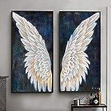 YDH Impresión abstracta de alas de ángel sobre lienzo, decoración de pared para salón, decoración del hogar, regalo, 40 x 80 cm, 2 unidades, sin marco