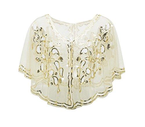 Metme Metme 1920er Jahre Schal Damen Umschlagtücher Stola für Abendkleid Pailletten Perlen Art Deco Wraps Cape Gatsby Kostüm Accessoires Wein