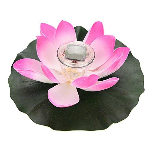 Oumij1 Imperméable à l'eau Solaire LED Couleur Changeante Fleur De Lotus Flottant Lampe Jardin Piscine Étang Lumière(Rose)