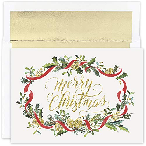 Masterpiece Studios Holiday Collection 16-Count Boxed Christmas Cards with Foil-Lined Envelopes, 7.8' x 5.6', Glittering Merry Pines (940200)