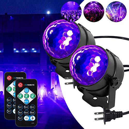 LUNSY Black Light 6W UV Disco Ball LED blackParty Lights Sound Activated with Remote Control DJ Lighting, 7 Modes Stage Par Light for UV Party Halloween Birthday Parties DJ Bar Xmas and More (2 pcs)