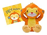 HearthSong Talking Peek-A-Boo Sillies Interactive Speak and Repeat Stuffed Animal Toy with Storybook - Battery Operated - 8' H - 'Dilly the Monkey'