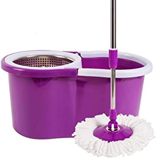 Spin Mop and Bucket Sets with 1 Replacement Microfiber Heads Stainless Steel 360° Wringer Mop for Floor Cleaning Masthome