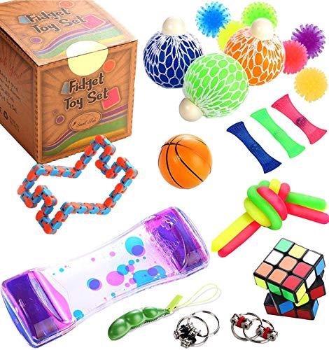 KTYX Fidget Toy Box Set - Mini Pop It 25pcs Juego Antiestres Box - Ansiedad Desestresante Gadgets para Niños - Autismo Sensorial Antiestres Pack para Alivia el Estrés Y La Ansiedad