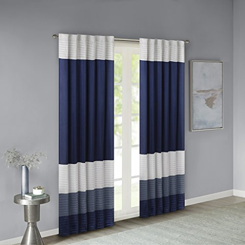 Madison Park Amherst Faux Silk Rod Pocket Curtain With Privacy Lining for Living Room, Window Drapes for Bedroom and Dorm, 50x84, Navy