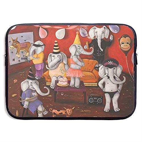 Waterdichte Computer Tas, Laptop Sleeve Hoes, Zakelijke Aktetas Mes, Wit Olifant Verjaardag Party Gifts Aap Ballon Laptop Sleeve Tas, Tablet Case Hoes, Compatibele Notebook Bag Case