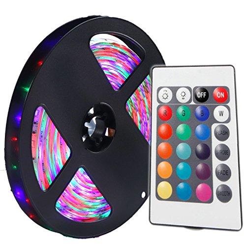 YWXLIGHT 1PCS 5M 36W 300 LED 3528 SMD impermeabilizzano i controlli RGB luminosi della striscia 24Key della barra chiara flessibile di luminosità normale di luminosità (DC 12V)