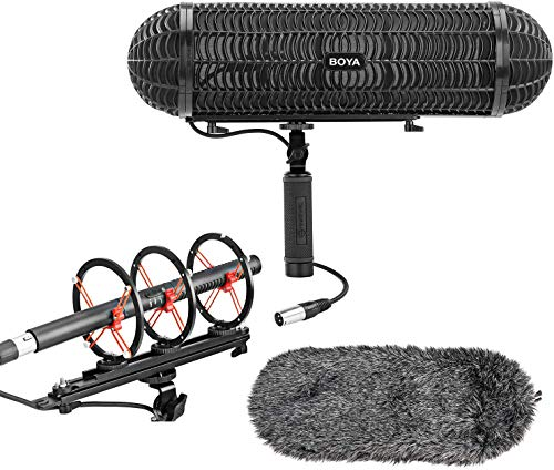 BOYA Shotgun Microphone Blimp Windshield Suspension System Microphone Cover Vibration Protection with XLR Cable for 20-22mm Diameter Shotgun Microphones Compatible with Canon Nikon Camcorder Recorder
