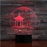 3D Nachtlicht,Kreative 3D-Illusionslichter, 7-Farben-Wechselzimmer-Dekorationslichter, Neue Fantasy-Nachtlichter, Geschenke Für Jungen Und Mädchen-Pavillon