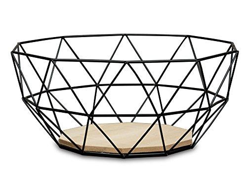 levandeo Korb Metall Schwarz 25x12cm Modern Holz MDF Braun Schüssel Schale Deko Design Tischdeko