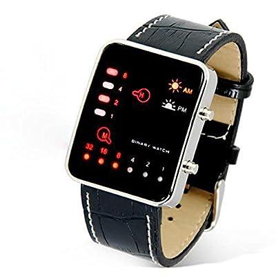 IEason,Digital Red LED Sport Wrist Watch Binary Wristwatch PU Leather Women Mens (Black)