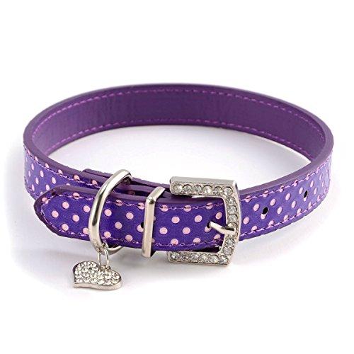 ZoonPark® Huisdier Hond Kraag, Mode Bling Strass Diamant Liefde Hanger Puppy Kat Hond Kraag Polka Dot PU Lederen Huisdier Kraag voor Kleine Hond of Medium Honden