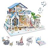 GuDoQi DIY Hölzernes Puppenhaus Kit, Miniatur Puppenhaus mit Möbeln und Musik, Handgefertigte Mini Haus Kit für Erwachsene, Blue Sea Legende